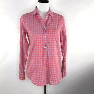 J. Crew Plaid Button Front Boy Shirt Size 0